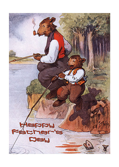 Bear Father and Son  INSIDE GREETING:  To a great Dad and a great friend.  Printed in the USA on Recycled paper.
