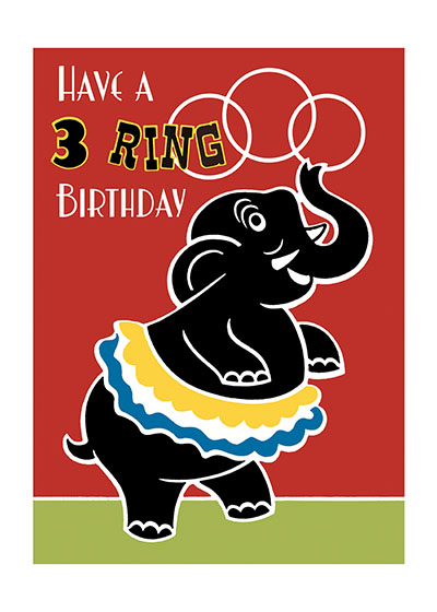 Circus Elephant  | Birthday Greeting Cards Our blank notecards are custom printed at our location in Seattle, WA. They come bagged with an envelope. We love illustration art from old children's books and early, printed ephemera. These cards reflect this interest in bringing delightful art back to life.