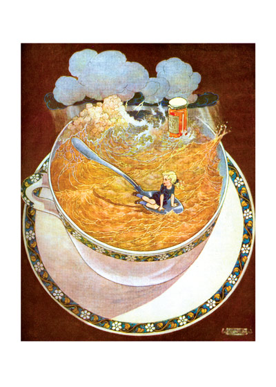 Storm in A Teacup  BLANK INSIDE  Our blank notecards are custom printed at our location in Seattle, WA. They come bagged with an envelope. We love illustration art from old children's books and early, printed ephemera. These cards reflect this interest in bringing delightful art back to life