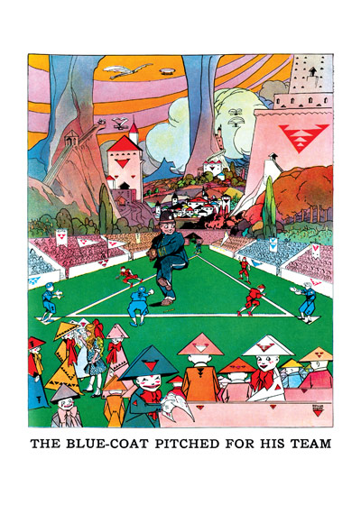 Fantastical Baseball Game These prints are made at our location in Seattle, WA. They have a thick, white backing board and are sealed in clear bags. Each is suitable for framing at 11 inches x 14 inches or can be used as is for wall display. Our goal is to bring back to life these wonderful illustrations from old-fashioned, children'sbooks and from early advertising art.