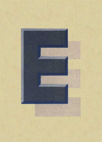 E with Shadow-Art Print | Vintage Typography Graphic Design Art Prints These prints are made at our location in Seattle, WA. They have a thick, white backing board and are sealed in clear bags. Each is suitable for framing at 11 inches x 14 inches or can be used as is for wall display. Our goal is to bring back to life these wonderful illustrations from old-fashioned, children'sbooks and from early advertising art.