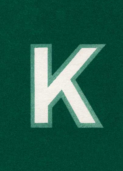 Green K-Blank Greeting Card | Vintage Typography Graphic Design Greeting Cards