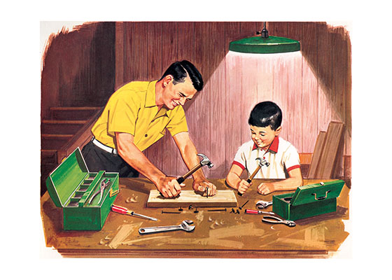 Father and Son Crafts This is a favorite from a series put out in the early 1950's called Teacher's Pictures. Which is a portfolio of 100 or so images, suitable and/or designed for hanging on the wall.  In this era, (1950's and '60's) It was popular for text book companies to sell these type of teaching pictures portfolios, presumably for the decoration of a classroom, that would be pleasing for the students to look at &  teach them by example healthy ways to live outside school and presumably tie in to the learning contained in the texts.  We are avid collectors of these portfolio's, as not only is the quality of illustration and printing often high, but we love the story in a picture element they were designed to provide.     Blank Notecards: Our blank notecards are custom printed at our location in Seattle, WA. They come bagged with an envelope. We love illustration art from old children's books and early, printed ephemera. These cards reflect this interest in bringing delightful art back to life.  Posters: These prints are made at our location in Seattle, WA. They have a thick, white backing board and are sealed in clear bags. Each is suitable for framing at 11 inches x 14 inches or can be used as is for wall display. Our goal is to bring back to life these wonderful illustrations from old-fashioned, children's books and from early advertising art.