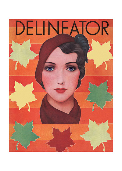 A Woman With Autumn Leaves Jean Rhys is a remarkable and prolific fashion illustrator and one of the ones we admire most from this era. In the 1920's and 30's photography had not yet taken over entirely in fashion magazines, and the reliance was still heavily placed on beautiful illustration to evoke the right mood, place and look. Jean Rhys did a wonderful job of this, rising above mere illustrative reporting, into realms of great artistry.   Blank Notecards: Our blank notecards are custom printed at our location in Seattle, WA. They come bagged with an envelope. We love illustration art from old children's books and early, printed ephemera. These cards reflect this interest in bringing delightful art back to life.  Posters: These prints are made at our location in Seattle, WA. They have a thick, white backing board and are sealed in clear bags. Each is suitable for framing at 11 inches x 14 inches or can be used as is for wall display. Our goal is to bring back to life these wonderful illustrations from old-fashioned, children's books and from early advertising art.