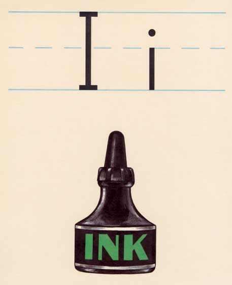 "I - Inkwell | Vintage Typography Graphic Design Greeting Cards ""This is the I in the series Alphabet Poster Cards, Ink."