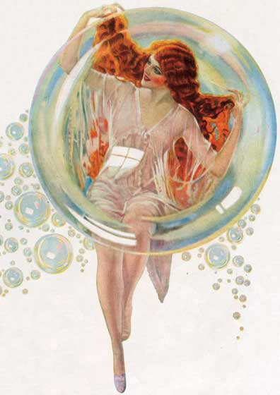 Redhead in Bubble This lovely and artistic representation of a jubilant woman having just washed her hair is from 1922. I would certainly buy any shampoo (of which this was originally an advertisement for) that this beautiful redhead washed her hair with!   Blank Notecards: Our blank notecards are custom printed at our location in Seattle, WA. They come bagged with an envelope. We love illustration art from old children's books and early, printed ephemera. These cards reflect this interest in bringing delightful art back to life.  Posters: These prints are made at our location in Seattle, WA. They have a thick, white backing board and are sealed in clear bags. Each is suitable for framing at 11 inches x 14 inches or can be used as is for wall display. Our goal is to bring back to life these wonderful illustrations from old-fashioned, children's books and from early advertising art.