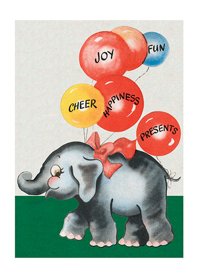 Elephant w/ Balloons  BLANK INSIDE  Our blank notecards are custom printed at our location in Seattle, WA. They come bagged with an envelope. We love illustration art from old children's books and early, printed ephemera. These cards reflect this interest in bringing delightful art back to life.