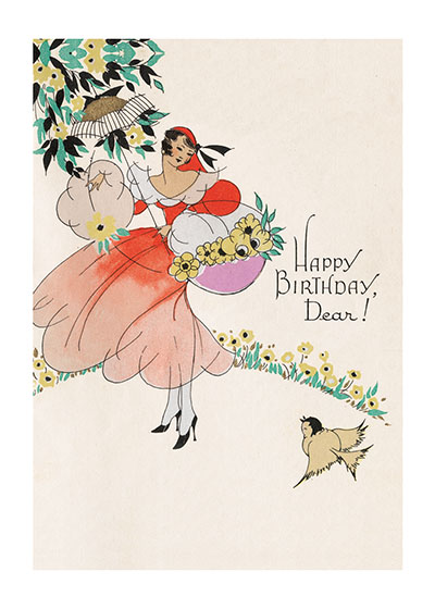 Lady w/ Flowers Blank Birthday Card | Birthday Greeting Cards