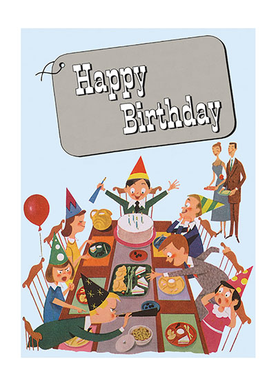 Birthday Party Blank Greeting Card | Birthday Greeting Cards Our blank notecards are custom printed at our location in Seattle, WA. They come bagged with an envelope. We love illustration art from old children's books and early, printed ephemera. These cards reflect this interest in bringing delightful art back to life.
