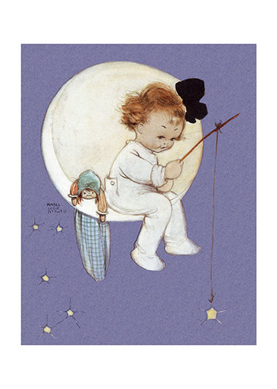 Baby Girl on Moon  INSIDE GREETING: Nothing happens unless it is first a dream. Congratulations on your new child.  Mabel Lucie Attwell's sweet, stylized children graced her books, periodicals and advertising work over her long and successful career in Great Britain. In this charming image a baby girl fishes for a star whilst sitting in the moon.  Our greeting cards are custom printed at our location in Seattle, WA. They come bagged with an envelope. We love illustration art from old children's books and early, printed ephemera. These cards reflect this interest in bringing delightful art back to life.