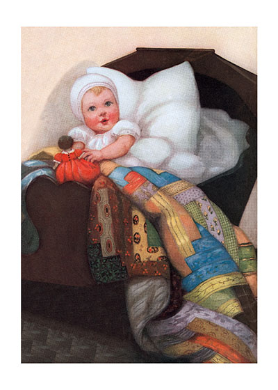 Baby with Quilt Art Print These prints are made at our location in Seattle, WA. They have a thick, white backing board and are sealed in clear bags. Each is suitable for framing at 11 inches x 14 inches or can be used as is for wall display. Our goal is to bring back to life these wonderful illustrations from old-fashioned, children'sbooks and from early advertising art.