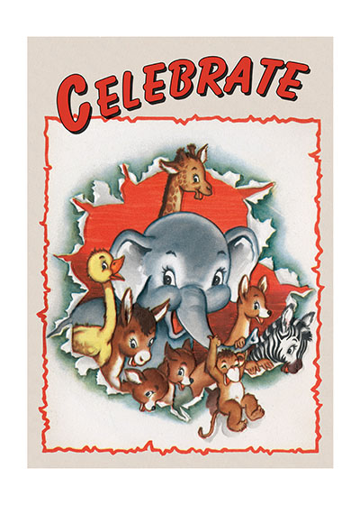 Elephant And Friends  INSIDE GREETING: Life's full of surprises.  Our greeting cards are custom printed at our location in Seattle, WA. They come bagged with an envelope. We love illustration art from old children's books and early, printed ephemera. These cards reflect this interest in bringing delightful art back to life.