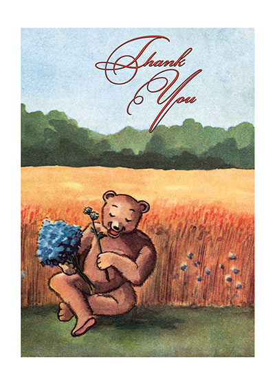 Bear with Blue Flowers  BLANK INSIDE  Our blank notecards are custom printed at our location in Seattle, WA. They come bagged with an envelope. We love illustration art from old children's books and early, printed ephemera. These cards reflect this interest in bringing delightful art back to life
