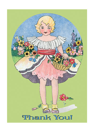Thank You Flower Girl Our blank notecards are custom printed at our location in Seattle, WA. They come bagged with an envelope. We love illustration art from old children's books and early, printed ephemera. These cards reflect this interest in bringing delightful art back to life.