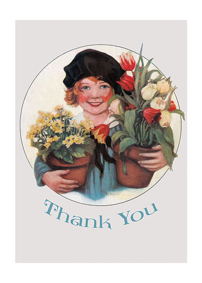 Smiling Girl w/ Pots of Flowers Blank Greeting Card (Bagged with Envelope) | Thank You Greeting Cards BLANK INSIDE