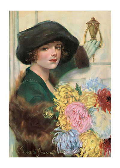 Ringing the Doorbell, With Flowers  INSIDE GREETING: With many thanks