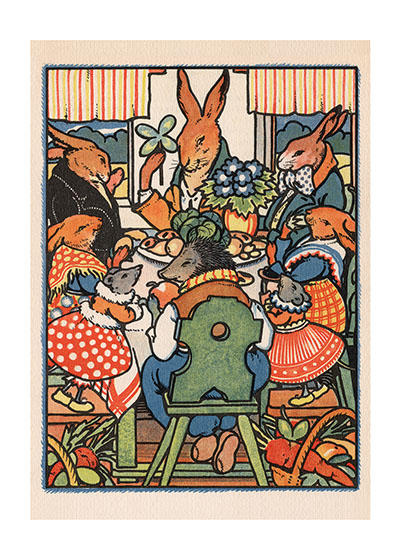 Rabbit Party  INSIDE GREETING: When friends meet, hearts warm.  Our notecards are custom printed at our location in Seattle, WA. They come bagged with an envelope. We love illustration art from old children's books and early, printed ephemera. These cards reflect this interest in bringing delightful art back to life.