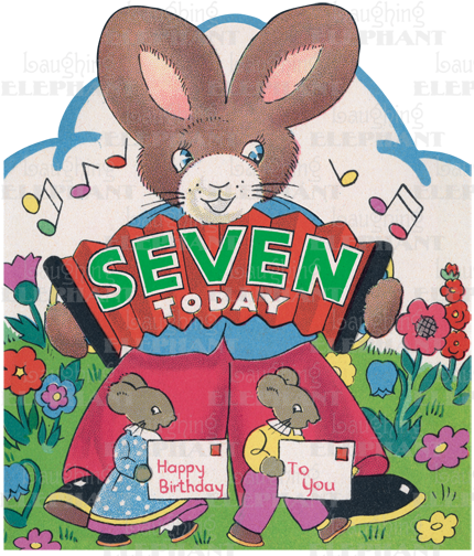 Rabbit w/ Accordion - 7th Birthday - Greeting Card (Bagged with Envelope) | Birthday Greeting Cards