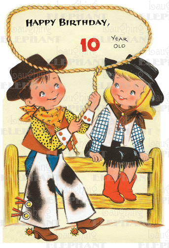 Cowgirl 10th Birthday Greeting Card Bagged With Envelope