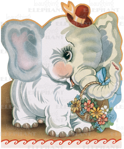 Elephant W Flowers Birthday Greeting Cards