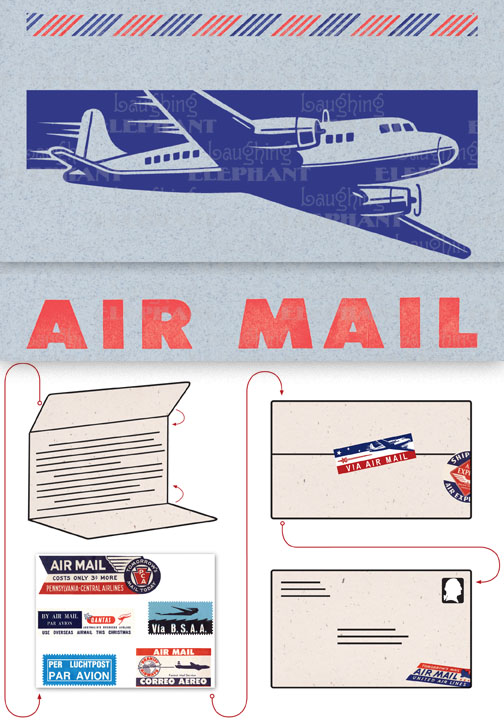 Big Old Jet Airliner Blue | Aerogram Self Mailer Travel Greeting Cards Evoke the glamor of bygone days, and with the it power of the written word, with these Aerogram self-mailers, which each come with vintage-inspired stickers to decorate and seal your important messages.