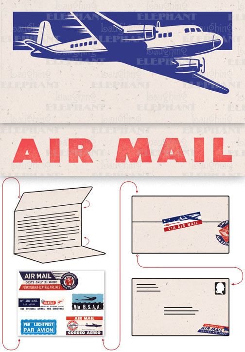 Big Old Jet Airliner Cream Evoke the glamor of bygone days, and with the it power of the written word, with these Aerogram self-mailers, which each come with vintage-inspired stickers to decorate and seal your important messages.   You've got to get an urgent message to your contact in the French resistance, tonight.  Fortunately there's a one a.m. airmail flight out of Casablanca.  You ask the clerk at the Hotel Marquis for an Aerogram and scribble out your note quickly, taking care to seal it from the prying eyes of the authorities.  You rush it directly to the airport and see that it makes it into the mailbag of the last Air Maroc flight.  Secure in the knowledge that you've done your part for liberte, you repair to the hotel bar.  This is but one scenario in which the Aerogram can be trusted to safely convey your most important communiques.  The rest, dear customer, is up to you.   Each card is folded to become mail-able, and is 7 x 4-3/8 (7 x 10 unfolded).  Each is accompanied by three stickers for sealing and decorating, and is contained in a transparent bag.