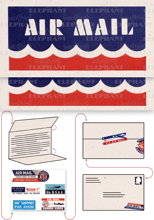 Air Mail Scallops Cream Evoke the glamor of bygone days, and with the it power of the written word, with these Aerogram self-mailers, which each come with vintage-inspired stickers to decorate and seal your important messages.   You've got to get an urgent message to your contact in the French resistance, tonight.  Fortunately there's a one a.m. airmail flight out of Casablanca.  You ask the clerk at the Hotel Marquis for an Aerogram and scribble out your note quickly, taking care to seal it from the prying eyes of the authorities.  You rush it directly to the airport and see that it makes it into the mailbag of the last Air Maroc flight.  Secure in the knowledge that you've done your part for liberte, you repair to the hotel bar.  This is but one scenario in which the Aerogram can be trusted to safely convey your most important communiques.  The rest, dear customer, is up to you.   Each card is folded to become mail-able, and is 7 x 4-3/8 (7 x 10 unfolded).  Each is accompanied by three stickers for sealing and decorating, and is contained in a transparent bag.