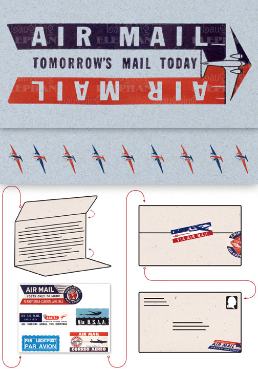Air Mail: Tomorrow's Mail Today Blue Evoke the glamor of bygone days, and with the it power of the written word, with these Aerogram self-mailers, which each come with vintage-inspired stickers to decorate and seal your important messages.   You've got to get an urgent message to your contact in the French resistance, tonight.  Fortunately there's a one a.m. airmail flight out of Casablanca.  You ask the clerk at the Hotel Marquis for an Aerogram and scribble out your note quickly, taking care to seal it from the prying eyes of the authorities.  You rush it directly to the airport and see that it makes it into the mailbag of the last Air Maroc flight.  Secure in the knowledge that you've done your part for liberte, you repair to the hotel bar.  This is but one scenario in which the Aerogram can be trusted to safely convey your most important communiques.  The rest, dear customer, is up to you.   Each card is folded to become mail-able, and is 7 x 4-3/8 (7 x 10 unfolded).  Each is accompanied by three stickers for sealing and decorating, and is contained in a transparent bag.