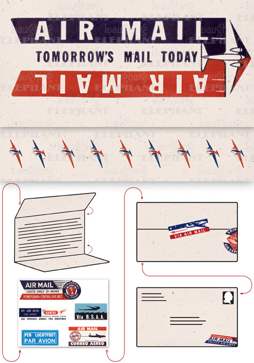 Air Mail: Tomorrow's Mail Today Cream Evoke the glamor of bygone days, and with the it power of the written word, with these Aerogram self-mailers, which each come with vintage-inspired stickers to decorate and seal your important messages.   You've got to get an urgent message to your contact in the French resistance, tonight.  Fortunately there's a one a.m. airmail flight out of Casablanca.  You ask the clerk at the Hotel Marquis for an Aerogram and scribble out your note quickly, taking care to seal it from the prying eyes of the authorities.  You rush it directly to the airport and see that it makes it into the mailbag of the last Air Maroc flight.  Secure in the knowledge that you've done your part for liberte, you repair to the hotel bar.  This is but one scenario in which the Aerogram can be trusted to safely convey your most important communiques.  The rest, dear customer, is up to you.   Each card is folded to become mail-able, and is 7 x 4-3/8 (7 x 10 unfolded).  Each is accompanied by three stickers for sealing and decorating, and is contained in a transparent bag.