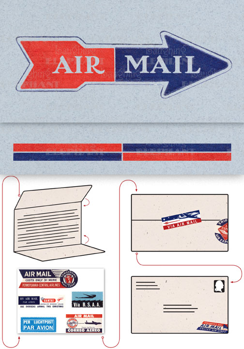 Air Mail Arrow Blue Evoke the glamor of bygone days, and with the it power of the written word, with these Aerogram self-mailers, which each come with vintage-inspired stickers to decorate and seal your important messages.   You've got to get an urgent message to your contact in the French resistance, tonight.  Fortunately there's a one a.m. airmail flight out of Casablanca.  You ask the clerk at the Hotel Marquis for an Aerogram and scribble out your note quickly, taking care to seal it from the prying eyes of the authorities.  You rush it directly to the airport and see that it makes it into the mailbag of the last Air Maroc flight.  Secure in the knowledge that you've done your part for liberte, you repair to the hotel bar.  This is but one scenario in which the Aerogram can be trusted to safely convey your most important communiques.  The rest, dear customer, is up to you.   Each card is folded to become mail-able, and is 7 x 4-3/8 (7 x 10 unfolded).  Each is accompanied by three stickers for sealing and decorating, and is contained in a transparent bag.