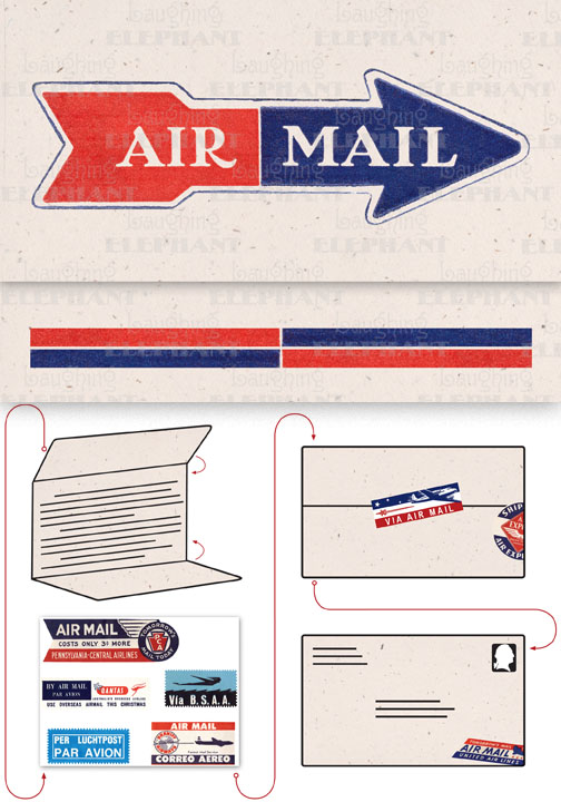 Air Mail Arrow Cream Evoke the glamor of bygone days, and with the it power of the written word, with these Aerogram self-mailers, which each come with vintage-inspired stickers to decorate and seal your important messages.   You've got to get an urgent message to your contact in the French resistance, tonight.  Fortunately there's a one a.m. airmail flight out of Casablanca.  You ask the clerk at the Hotel Marquis for an Aerogram and scribble out your note quickly, taking care to seal it from the prying eyes of the authorities.  You rush it directly to the airport and see that it makes it into the mailbag of the last Air Maroc flight.  Secure in the knowledge that you've done your part for liberte, you repair to the hotel bar.  This is but one scenario in which the Aerogram can be trusted to safely convey your most important communiques.  The rest, dear customer, is up to you.   Each card is folded to become mail-able, and is 7 x 4-3/8 (7 x 10 unfolded).  Each is accompanied by three stickers for sealing and decorating, and is contained in a transparent bag.