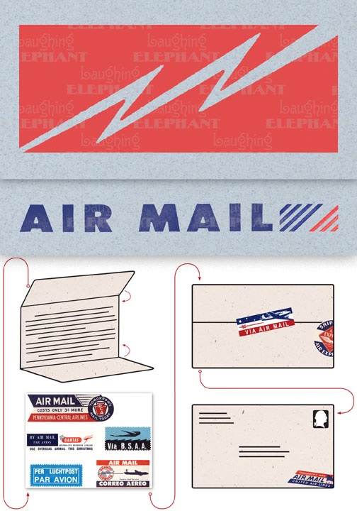 Air Mail Bolt Blue Evoke the glamor of bygone days, and with the it power of the written word, with these Aerogram self-mailers, which each come with vintage-inspired stickers to decorate and seal your important messages.   You've got to get an urgent message to your contact in the French resistance, tonight.  Fortunately there's a one a.m. airmail flight out of Casablanca.  You ask the clerk at the Hotel Marquis for an Aerogram and scribble out your note quickly, taking care to seal it from the prying eyes of the authorities.  You rush it directly to the airport and see that it makes it into the mailbag of the last Air Maroc flight.  Secure in the knowledge that you've done your part for liberte, you repair to the hotel bar.  This is but one scenario in which the Aerogram can be trusted to safely convey your most important communiques.  The rest, dear customer, is up to you.   Each card is folded to become mail-able, and is 7 x 4-3/8 (7 x 10 unfolded).  Each is accompanied by three stickers for sealing and decorating, and is contained in a transparent bag.