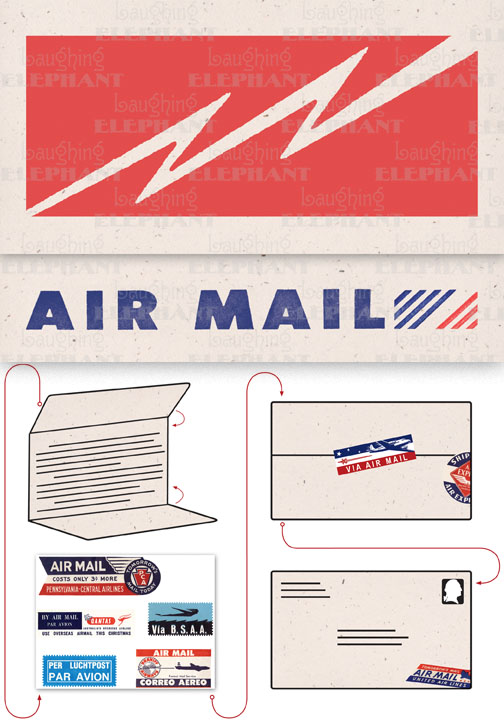 Air Mail Bolt Cream | Aerogram Self Mailer Travel Greeting Cards Evoke the glamor of bygone days, and with the it power of the written word, with these Aerogram self-mailers, which each come with vintage-inspired stickers to decorate and seal your important messages.