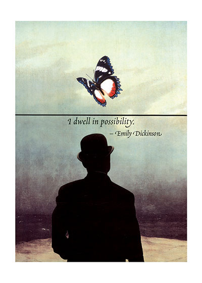 Man In a Bowler Hat With a Butterfly  OUTSIDE GREETING:  I dwell in possibility.  BLANK INSIDE  Special Deliveries Notecards by Richard Kehl.  Richard Kehl is a wonderful collage artist, and additionally a master of the apt quotation (see our titles {Breathing On Your Own,} {Breathing Together,} {Love Letters to the Universe}and {It Takes a Long Time to Become Young.} Here he combines these two gifts in a series of elegant notecards.