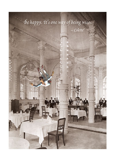 Acrobat in Dining Room Richard Kehl is a wonderful collage artist, and additionally a master of the apt quotation (see our titles {Breathing On Your Own,} {Breathing Together,} {Love Letters to the Universe}and {It Takes a Long Time to Become Young.} Here he combines these two gifts in a series of elegant notecards.  These prints are made at our location in Seattle, WA. They have a thick, white backing board and are sealed in clear bags. Each is suitable for framing at 11 inches x 14 inches or can be used as is for wall display. Our goal is to bring back to life these wonderful illustrations from old-fashioned, children's books and from early advertising art.