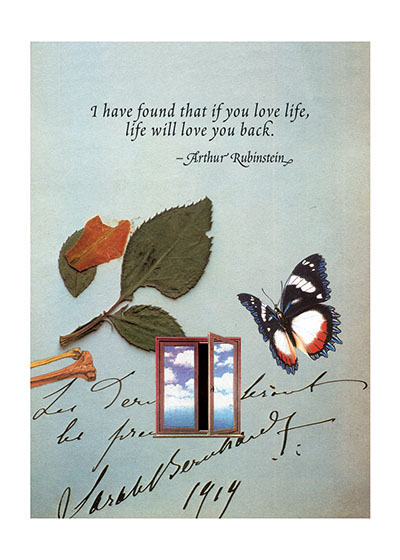 Butterfly and Window  OUTSIDE GREETING:  I have found that if you love life, life will love you back.  BLANK INSIDE  Special Deliveries Notecards by Richard Kehl.  Richard Kehl is a wonderful collage artist, and additionally a master of the apt quotation (see our titles {Breathing On Your Own,} {Breathing Together,} {Love Letters to the Universe}and {It Takes a Long Time to Become Young.} Here he combines these two gifts in a series of elegant notecards.