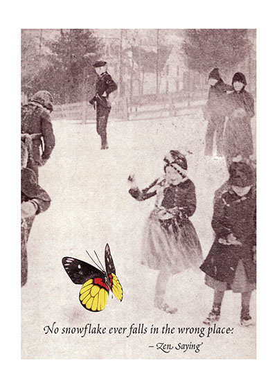 Skaters and Butterfly Special Deliveries Notecards by Richard Kehl.  Richard Kehl is a wonderful collage artist, and additionally a master of the apt quotation (see our titles {Breathing On Your Own,} {Breathing Together,} {Love Letters to the Universe}and {It Takes a Long Time to Become Young.} Here he combines these two gifts in a series of elegant notecards.