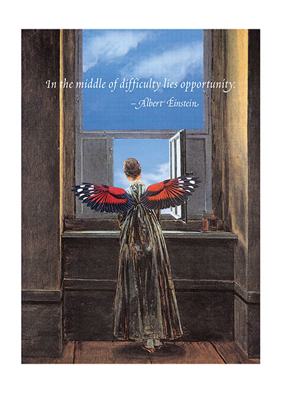 Winged Woman At Window | Encouragement Art Prints Special Deliveries Notecards by Richard Kehl.