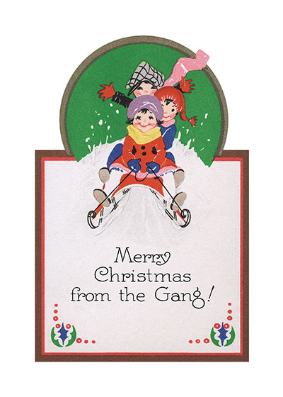 Christmas Sledding  BLANK INSIDE  Our blank notecards are custom printed at our location in Seattle, WA. They come bagged with an envelope. We love illustration art from old children's books and early, printed ephemera. These cards reflect this interest in bringing delightful art back to life