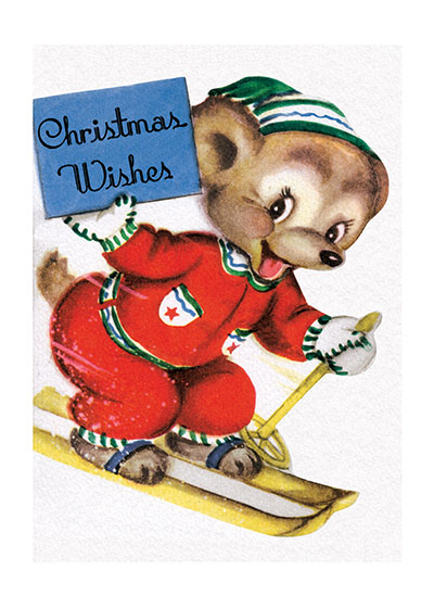 Smiling Bear Skiing  This delightful bear bearing holiday greetings atop skis makes a most cheerful holiday card.  Our blank notecards are custom printed at our location in Seattle, WA. They come bagged with an envelope. We love illustration art from old children's books and early, printed ephemera. These cards reflect this interest in bringing delightful art back to life.  OUTSIDE GREETING:  Christmas Wishes!