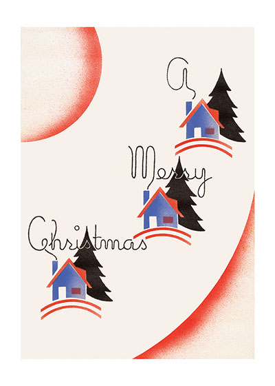 Christmas Houses - Blank Greeting Card | Many More Christmas Greeting Cards Our blank notecards are custom printed at our location in Seattle, WA. They come bagged with an envelope. We love illustration art from old children's books and early, printed ephemera. These cards reflect this interest in bringing delightful art back to life.