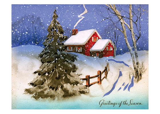 A House and Trees in Deep Snow | Many More Christmas Greeting Cards