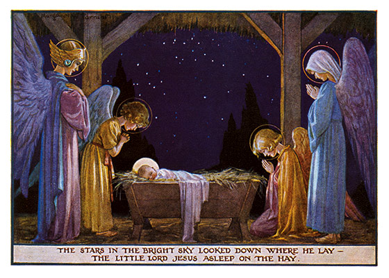 Angels and the Holy Family at the Manger This classic manger scene of the Holy Family standing guard over the sleeping Baby Jesus is from British illustrator Margaret Tarrant.  These prints are made at our location in Seattle, WA. They have a thick, white backing board and are sealed in clear bags. Each is suitable for framing at 11 inches x 14 inches or can be used as is for wall display. Our goal is to bring back to life these wonderful illustrations from old-fashioned, children's books and from early advertising art.