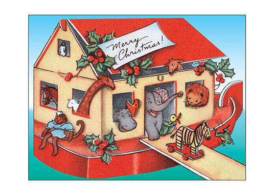 Toy Christmas Ark  Toys go with Christmas.  The gift of them to our children, and our joy at their joy in receiving is one of the best parts of Christmas.  This image of a toy Noah's Ark is a charming toy that makes a jolly card to send to family and friends.  Our blank notecards are custom printed at our location in Seattle, WA. They come bagged with an envelope. We love illustration art from old children's books and early, printed ephemera. These cards reflect this interest in bringing delightful art back to life.