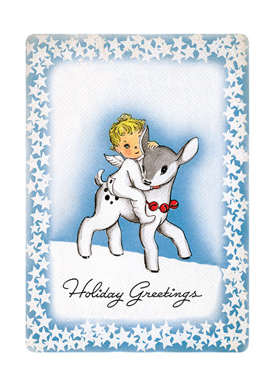 Angel Riding Baby Reindeer | Many More Christmas Greeting Cards A young angel rides a baby reindeer in this sweetest of holiday greetings.