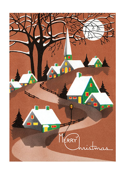 Snow Topped Houses Beneath the Moon  This image of a snowy, tranquil village is from a is a reproduction of a mid-century greeting card.  Our blank notecards are custom printed at our location in Seattle, WA. They come bagged with an envelope. We love illustration art from old children's books and early, printed ephemera. These cards reflect this interest in bringing delightful art back to life.  OUTSIDE GREETING: Merry Christmas