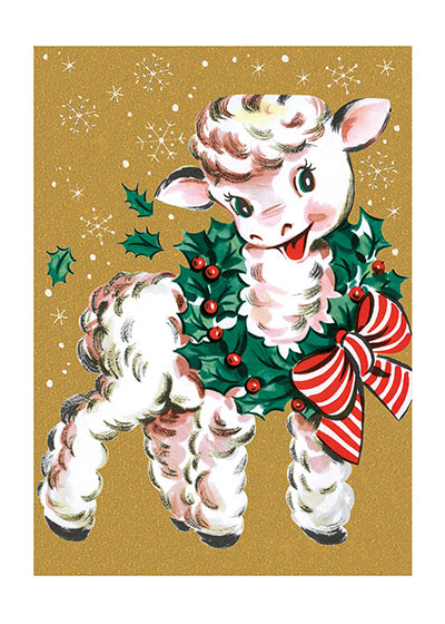 Lamb Wearing Wreath  A sweet lamb wearing a holly wreath brings holiday cheer in this reproduction of a mid-century Christmas card.  Our blank notecards are custom printed at our location in Seattle, WA. They come bagged with an envelope. We love illustration art from old children's books and early, printed ephemera. These cards reflect this interest in bringing delightful art back to life.
