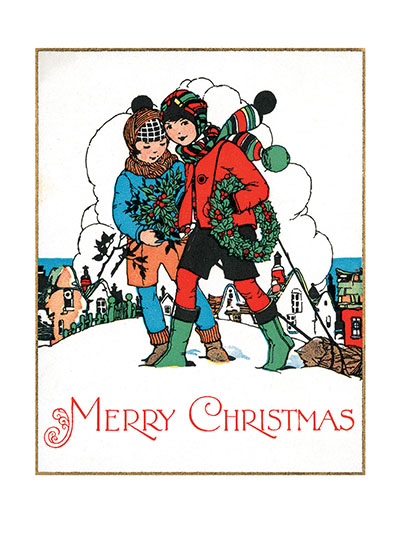 Boys Carrying Holly Wreaths  These boys bearing holiday greenery through the snow make a most charming holiday image.  Our blank notecards are custom printed at our location in Seattle, WA. They come bagged with an envelope. We love illustration art from old children's books and early, printed ephemera. These cards reflect this interest in bringing delightful art back to life.  OUTSIDE GREETING: Merry Christmas