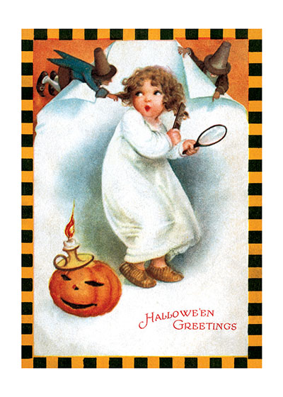 Girl and Jack-O-Lantern This  Halloween greeting features a little girl and some classic Halloween imagery from a postcard c. 1900.   INSIDE GREETING: Happy Halloween
