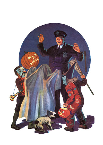 Policeman and Trick-or-Treaters This mid-century policeman is being a good sport and being suitably frightened by the neighborhood kids in their Halloween costumes.  Inside Greeting:  Happy Halloween  Our notecards are custom printed at our location in Seattle, WA. They come bagged with an envelope. We love illustration art from old children's books and early, printed ephemera. These cards reflect this interest in bringing delightful art back to life.